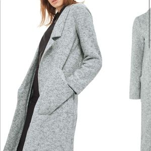 Topshop Brushback Jersey grey Coat